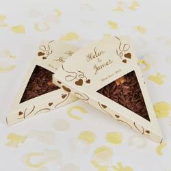 Personalised Chocolate Pizza Slice Wedding Favours (Packs of 25)