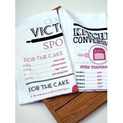 victoria sponge and kitchen conversion tea towel