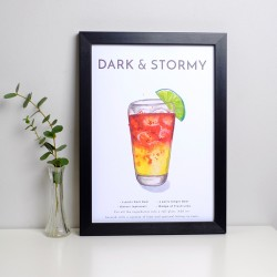 Dark and Stormy Cocktail A4 Print