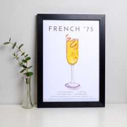 French 75 Cocktail A4 Print