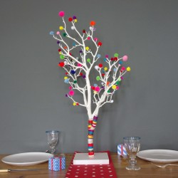 Pom Pom Christmas Tree Table Centre Piece