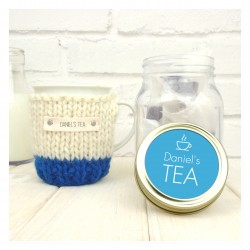 Personalised Colour Block Mug Cosy And Tea Jar Gift