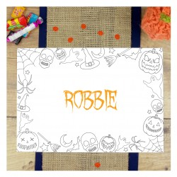 Personalised Halloween Colouring In Party Placemat
