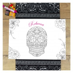 Personalised Halloween Sugar Skull Colour In Placemat