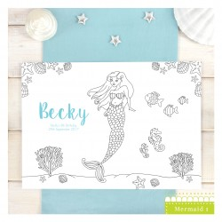 Mermaid Personalised Party Colour Me In Place Mats