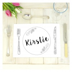 Personalised Wedding Colour Me In Table Place Mats