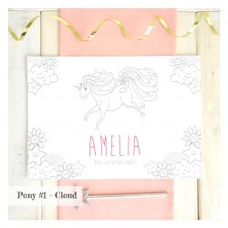 Children's Personalised Pony Party Colouring In Place Mats
