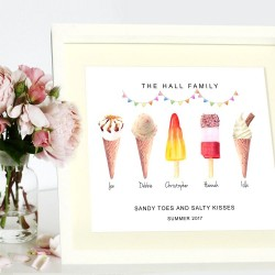 Personalised Illustrated Family Ice Cream Print