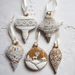 Christmas Bauble Gingerbread Hanging Decorations Set of 5