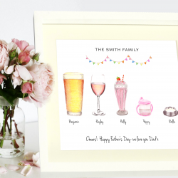 Personalised Illustrated Family Drinks Print