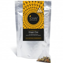 100% Natural loose leaf Ginger Chai (blend no. 3) in biodegradable pyramid teabags