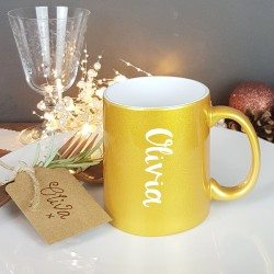 Golden Personalised Christmas Gift Mug