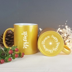 Personalised Gold Effect Carved Sparkle Mug
