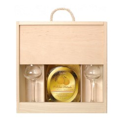 3 Year Aged Palinka in a Wooden Gift Box with 2 Tulip Glasses