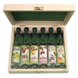 6 Mini Bottles of Premium Palinka in a Wooden Gift Box