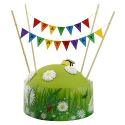 Cake Topper Bunting 'Happy Birthday' Small Multi-coloured Flags