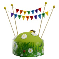 Cake Topper Bunting 'Happy Birthday' Small Multi-coloured Flags with Beads