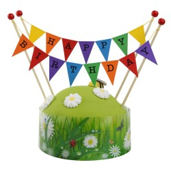 Cake Topper Bunting 'Happy Birthday' Large Multi-coloured Flags with Beads