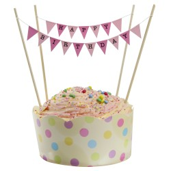 Cake Topper Bunting 'Happy Birthday' Small Pink Flags