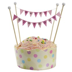 Cake Topper Bunting 'Happy Birthday' Small Pink Flags with Beads