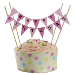 Cake Topper Bunting 'Happy Birthday; Large Pink Flags