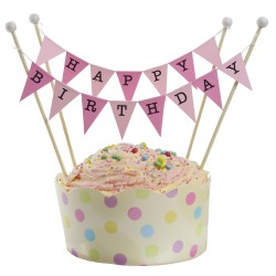 Cake Topper Bunting 'Happy Birthday Large Pink Flags
