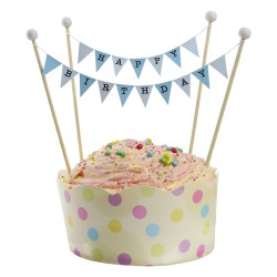 Cake Topper Bunting 'Happy Birthday' Small Blue Flags with Beads