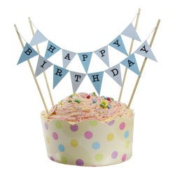 Cake Topper Bunting 'Happy Birthday' Large Blue Flags