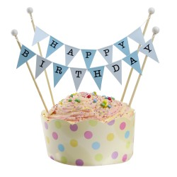 Cake Topper Bunting 'Happy Birthday' Large Blue Flags with Beads