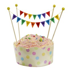 Cake Topper Bunting 'Happy Retirement' Small Multi-coloured Flags