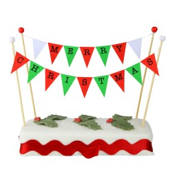 Cake Topper Bunting 'Merry Christmas' Large Red and Green Flags