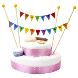 Cake Topper Bunting 'Happy Anniversary' Small Multi-coloured Flags