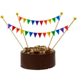 Cake Topper Bunting 'Alles Gute Zum Geburtstag' Small Multi-coloured Flags
