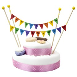 Cake Topper Bunting 'Herzlichen Gluckwunsch' Small Multi-coloured Flags