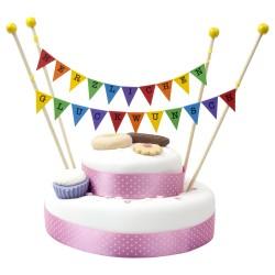 Cake Topper Bunting 'Herzlichen Gluckwunsch' Small Multi-coloured Flags