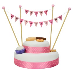Cake Topper Bunting 'Happy Christening' Small Pink Flags