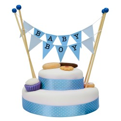 Cake Topper Bunting 'Baby Boy' Large Blue Flags