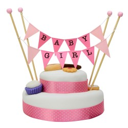 Cake Topper Bunting 'Baby Girl' Large Pink Flags