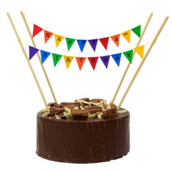 Cake Topper Bunting 'Happy 2nd Birthday' Small Multi-coloured Flags