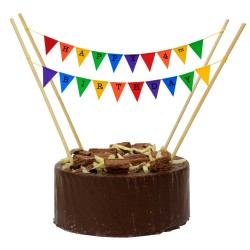 Cake Topper Bunting 'Happy 4th Birthday' Small Multicoloured Flags