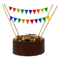 Cake Topper Bunting 'Happy 6th Birthday' Small Multi-Coloured Flags