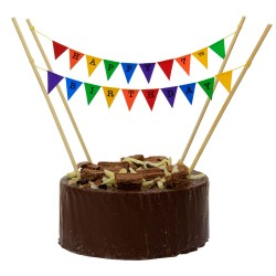 Cake Topper Bunting 'Happy 7th Birthday' Small Multi-coloured flags
