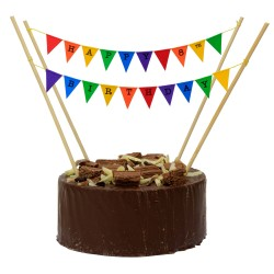 Cake Topper Bunting 'Happy 8th Birthday' Small Multi-coloured Flags