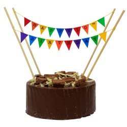 Cake Topper Bunting 'Happy 10th Birthday' Small Multicoloured Flags