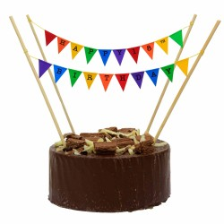 Cake Topper Bunting 'Happy 18th Birthday' Small Multi-coloured Flags