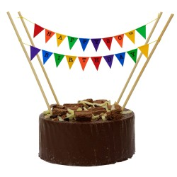 Cake Topper Bunting 'Happy 20th Birthday' Small Multi-coloured Flags