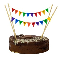 Cake Topper Bunting 'Happy 30th Birthday' Small Multicoloured Flags