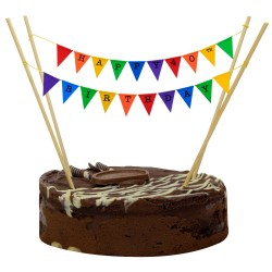 Cake Topper Bunting 'Happy 40th Birthday' Small Multi-coloured Flags