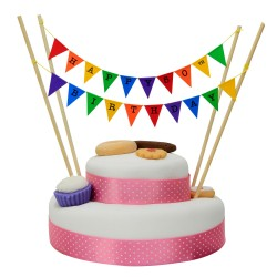 Cake Topper Bunting 'Happy 50th Birthday' Small Multi-coloured Flags