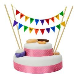 Cake Topper Bunting 'Happy 65th Birthday' Small Multi-coloured Flags